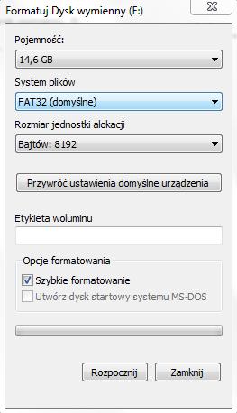 jak sformatować pendrive - aktualizacja map Dacia Duster